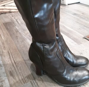 Vintage Nine West brown leather high -heel boots